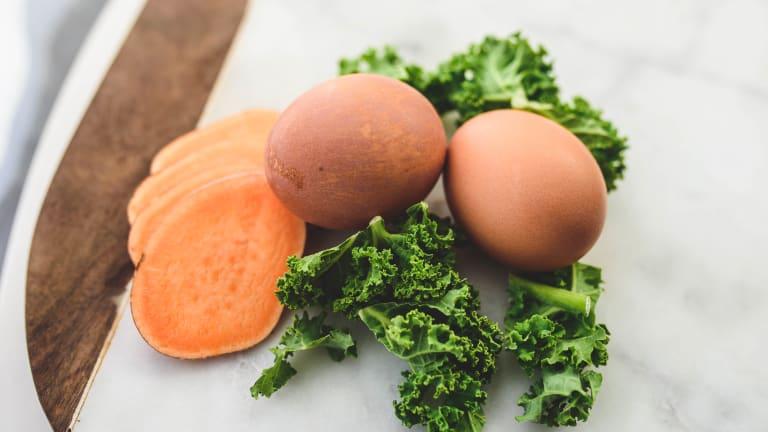 Sweet Potato-Kale Hash and Eggs