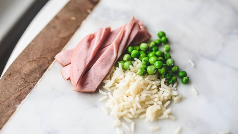 Pesto Risotto with Ham and Peas