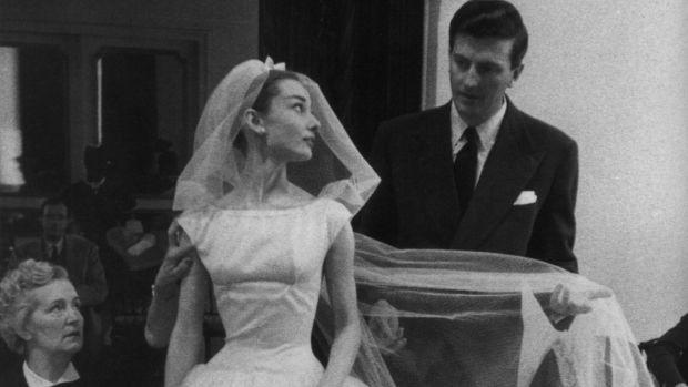 iconic wedding dress looks recreated white dresses inspiration Kate Middleton Audrey Hepburn Grace Kelly Sound of Music Julie Andrews