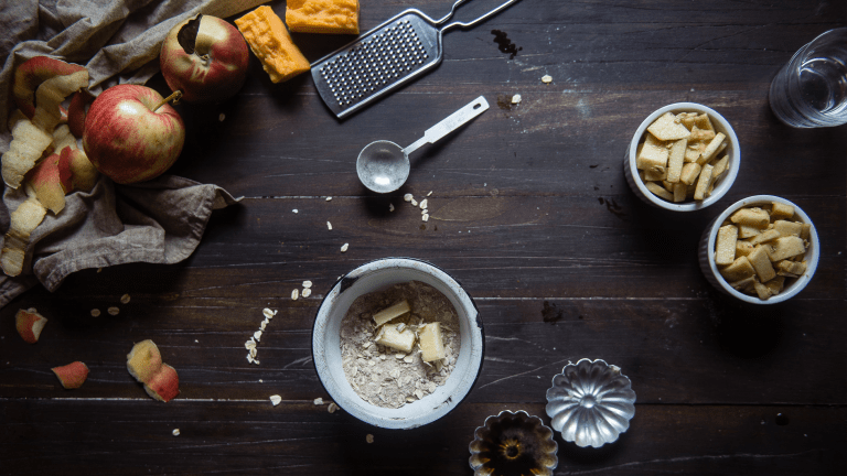 Brown Butter Cheddar Apple Crumble For Two
