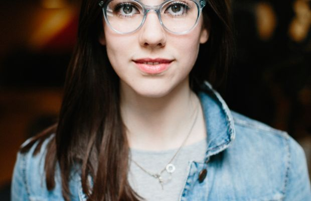 Lilly wears Rosalind by Classic Specs, $89