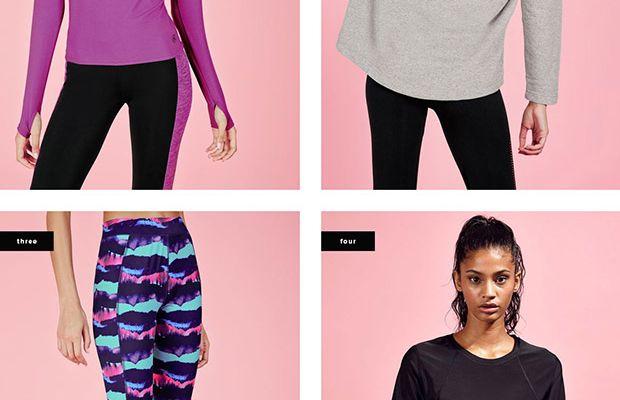 1. Long-Sleeve Top, $25 / 2. Sweatshirt, $25 / 3. Leggings, $27 / 4. T-Shirt, $14