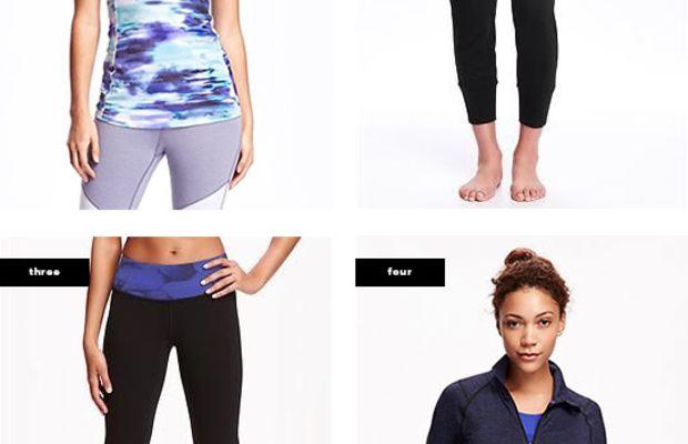 1.Tank, $14 / 2. Joggers, $25/ 3. Yoga Pants, $20 / 4. Jacket, $40