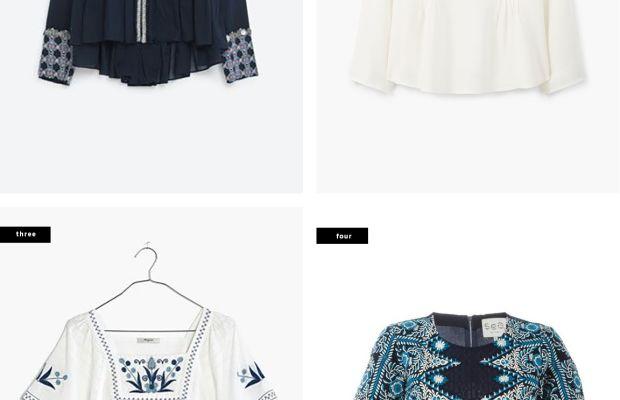 1. Zara, $100 / 2. Mango, $60 / 3. Madewell, $98 / 4. Far Fetch, $160