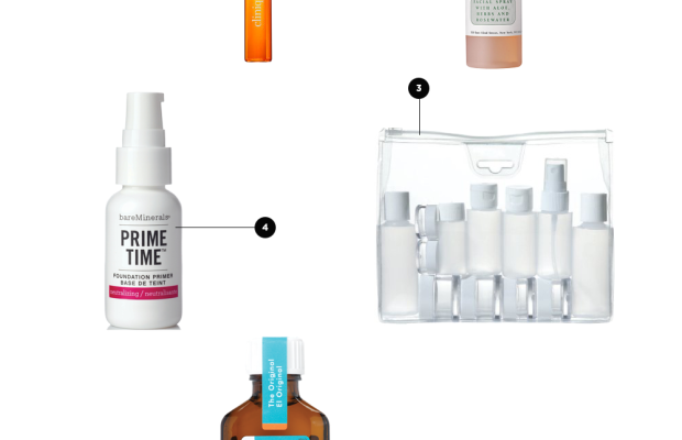1. Facial Spray, $7 / 2. Roll-On Perfume, $20 / 3. Product Containers, $2 / 4. Primer, $24/ 5.Hair Savers, $44 / 6. Zit Zapper, $7