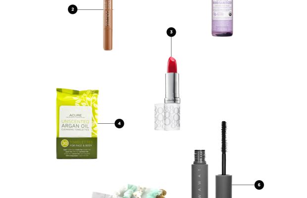 1. Hand Sanitizer, $4 / 2. Concealer, $26/ 3. Lip Tint, $21 / 4. Towelettes, $9/ 5. Stretchy Hair Ties, $5/ 6. Mini Mascara, $12