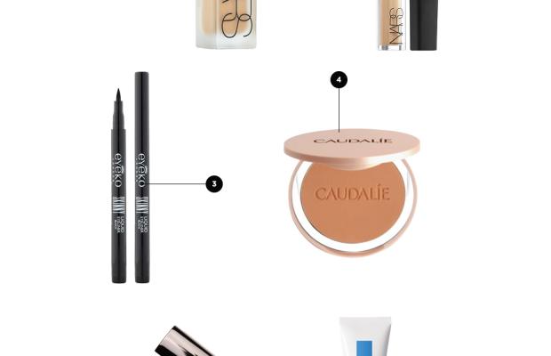 1. Concealer, $16 / 2. Foundation, $59 / 3. Liquid Liner,$18 / 4. Bronzer, $34 / 5. Natural Lip Color, $34 / 6. Effaclar Duo, $37