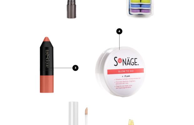 1. Contact Lens Case, $4 / 2. Berry Lip Tint, $14 / 3. Blush Stick, $34/ 4. Skin-Brightening Pads, $20/ 5. Concealer, $2/ 6. Tweezers, $14