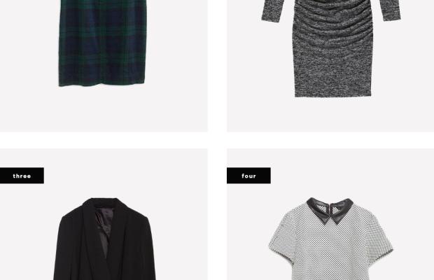 1. Madewell, $148 / 2. Joe Fresh, $29 / 3. Zara, $129/ 4. Zara, $50