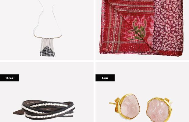 1. Porcupine Naibor Necklace, $60/ 2. Cherry Red Kantha Scarf, $75 / 3. Leather Buckle Wrap Bracelet, $48/ 4. Gold Plate Pink Quartz Studs, $109
