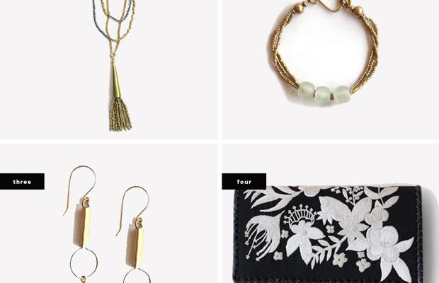 1. Alanna Masaai Beaded Tassel Necklace, $32 / 2. Anga Glass Tri-Bead Bracelet, $32 / 3. Mvua Glass Bead Drop Earrings, $22/ 4. Dama Clutch, $198
