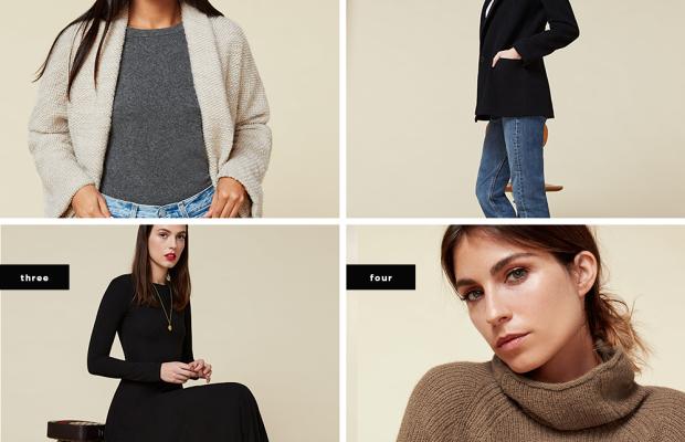 1. Sabel Coat, $288/ 2. Carnaby Jacket, $298/ 3. Tammy Dress, $148/ 4. Abbey Alpaca Sweater, $228