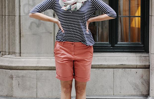 Shop Lilly's look: 1. Scarf, $34(similar)/ 2. Shirt, $30(similar)/ 3. Shorts, $29(similar)/ Shoes, $30(similar)