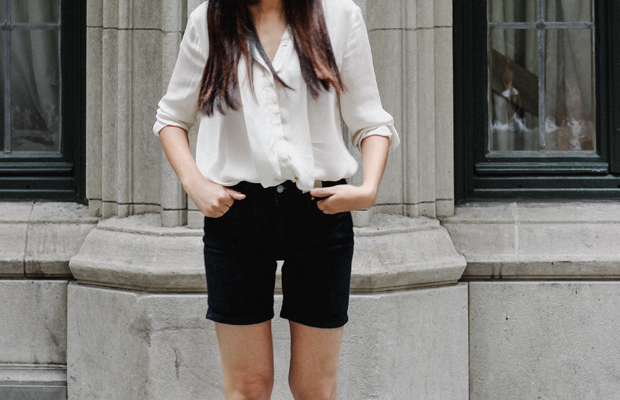 Shop Haruka's look: 1. Top, $68(similar)/ 2. Shoes, $100 / 3. Shorts, $55