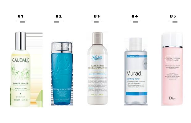 1. Caudalie Beauty Elixir, $49 / 2. Lancôme Tonique Douceur, $25/ 3. Kiehl's Rare Earth Pore Refining Tonic, $21 / 4. Murad Clarifying Toner, $24 / 5. Dior Gentle Toning Lotion, $35