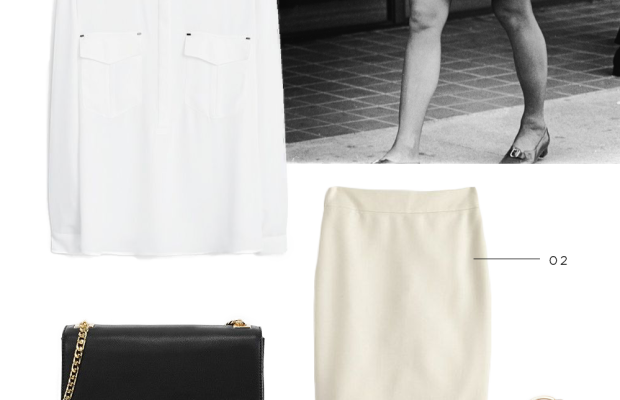 Jackie O style icon outfit inspiration classic timeless feminine classy fashion shopping black and white suede and camel luxe 1970s style vintage demure white matching set