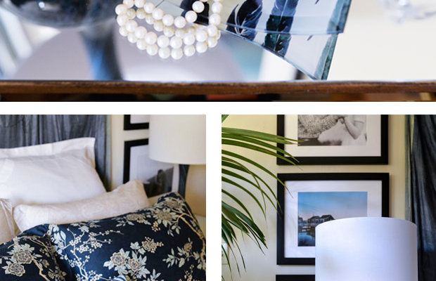 Simple touches like this multi-use glass (top) printed with an image of my own choosing or a custom throw pillow(left) that reminds me of my favorite vacation spot (ACK airport serves Nantucket) make my bedroom all the more inviting.