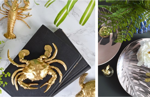 Spray paint plastic sea creatures in gold to create affordable statement pieces. Or pick out a gilded dragonfly or butterfly to add whimsy and characterto plain tables, shelves, or other surfaces.