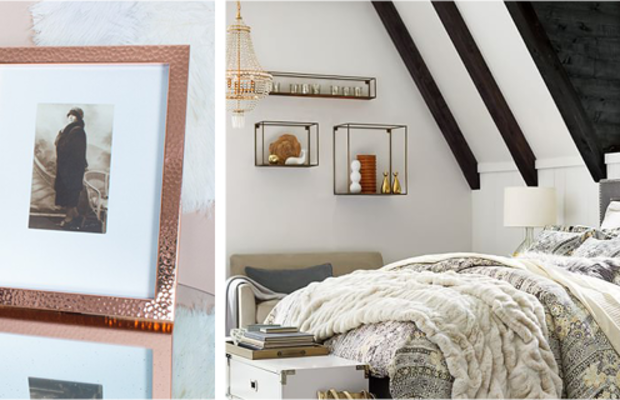 Placepersonal photos ineye-catching framesand precious pieces in effortlessly arranged shelvingfor a one-of-a-kind display in your bedroom or living room.