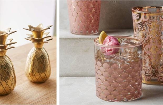 The tops of these adorable pineapple glasses double as stands for each cup. The modernized motifs on thesecocktail glasses were inspired byornate vintage barware.