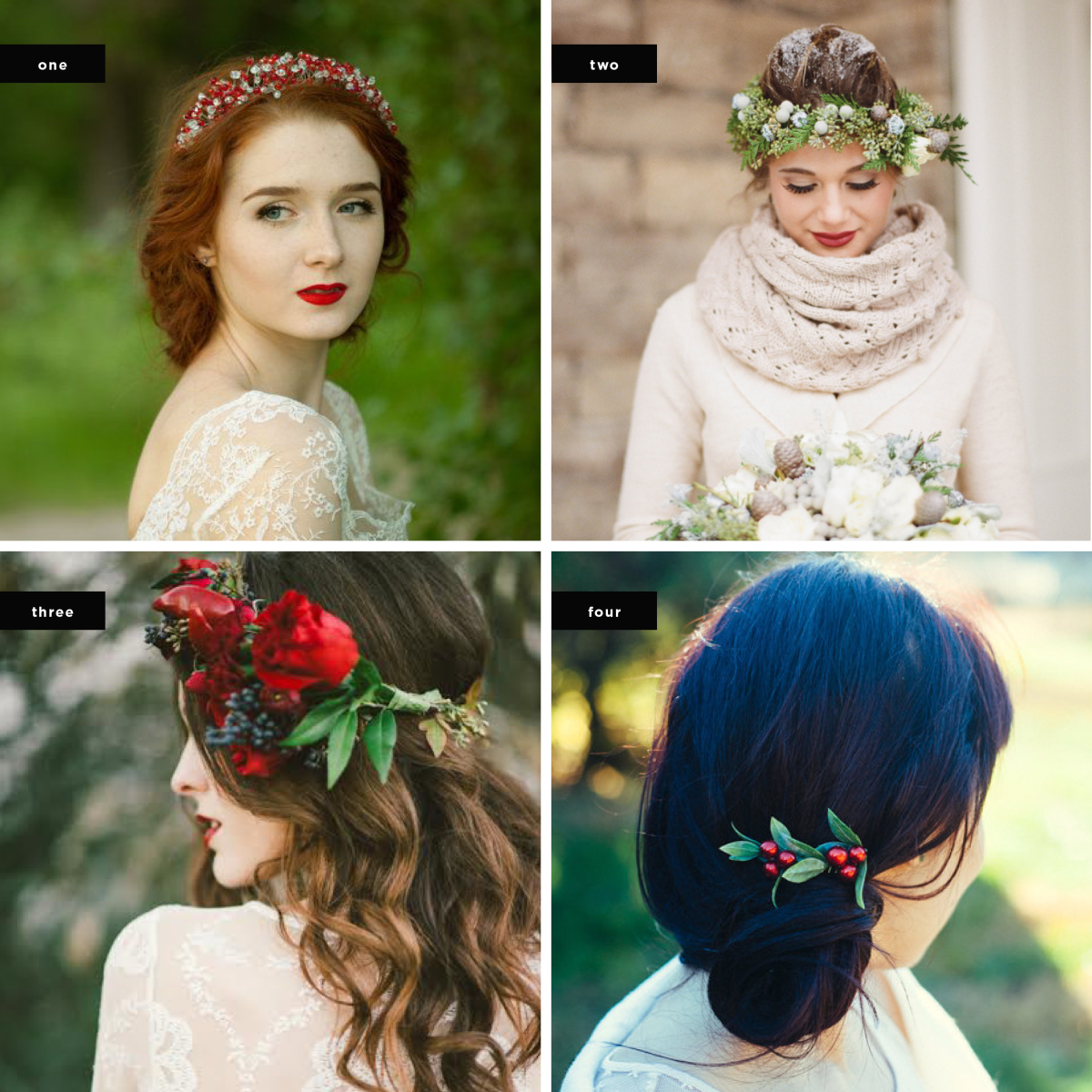 1. Wreath: AnnAccessoriesStudio, $127 / 2. Image Credit: Elizabeth Anne Designs / 3. Image Credit: Stephanie Rose Photography, Wreath: R Love Floral / 4. Hair Comb: KimArt, $30