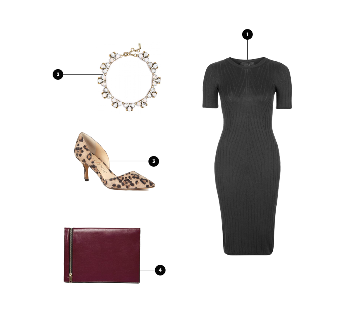 1. Topshop, $70 / 2. BaubleBar, $58 / 3. Sole Society, $70 / 4. Asos, $30