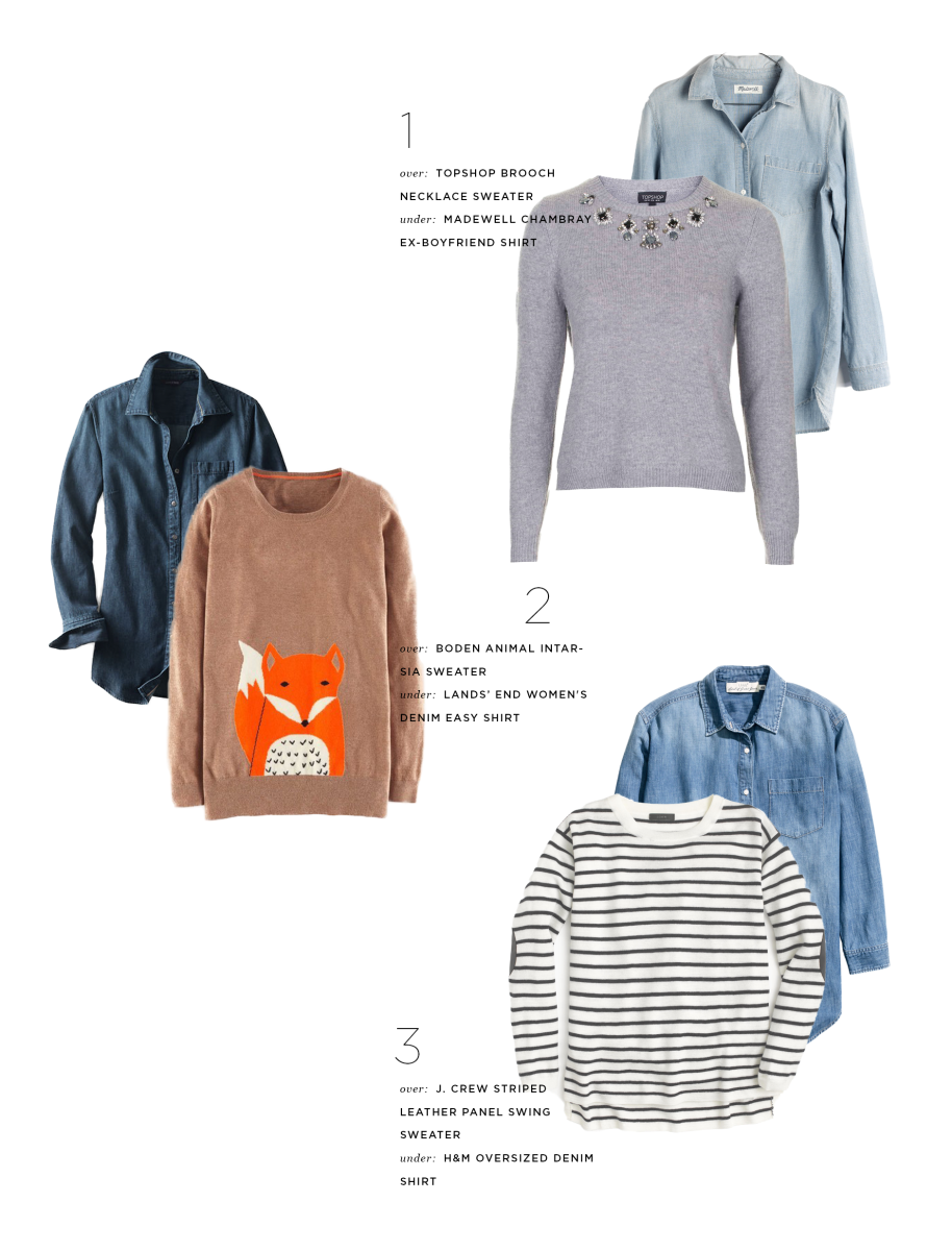 1. Chambray, Madewell, $72 & Sweater, Topshop, $75 / 2. Chambray, Lands' End, $59 & Sweater, Boden, $138 / 3. Chambray, H&M, $35 & Sweater, J.Crew, $80