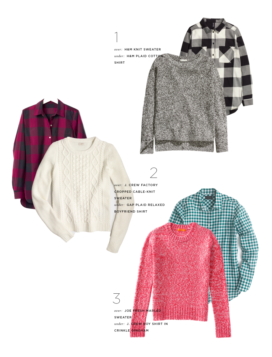 1. Plaid, H&M, $25 & Sweater, H&M, $20 / 2. Plaid, Gap, $55 & Sweater, J.Crew Factory, $53 / 3. Plaid, J.Crew, $60 & Sweater, Joe Fresh, $29