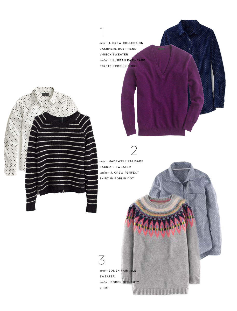 1. Polka-Dot, L.L.Bean, $30 & Sweater, J.Crew, $248 / 2. Polka-Dot, J.Crew, $60 & Sweater, Madewell, $98 / 3. Polka-Dot, Boden, $55 & Sweater, Boden, $148