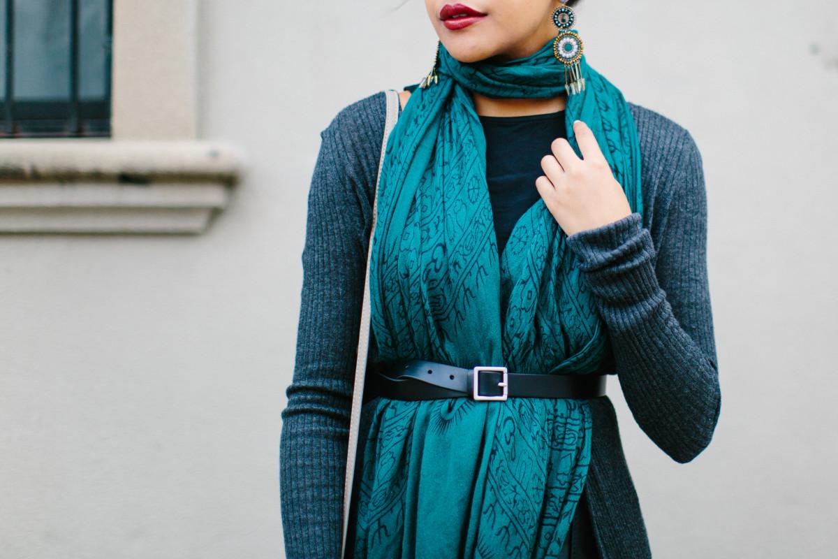 1. Scarf, World Market, $6 (similar) / 2. Purse, Oasis, $45(similar) / 3. Cardigan, Express, $36/ 4. Belt, Gap, $30/ 5. Earrings, Topshop, $22 (similar) / 6. Skirt, Oasis, $130 (similar)