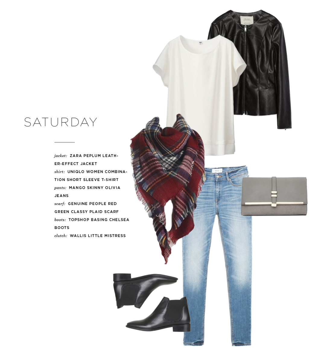 Jacket: Zara, $70 / Shirt: Uniqlo, $10 (similar) / Pants: Mango, $60/ Scarf: Genuine People, $24 / Clutch: Wallis, $35/ Boots: Topshop, $65