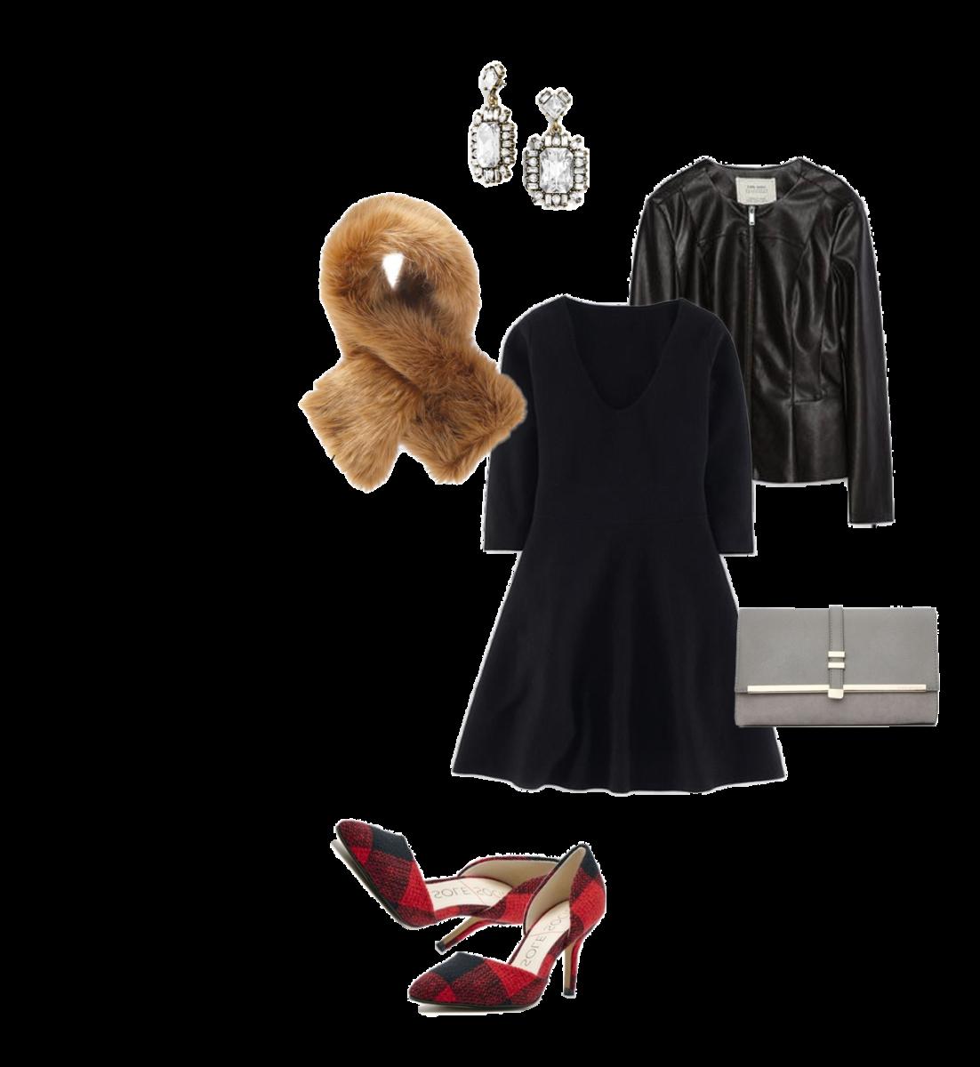 Dress: Boden, $149 / Jacket: Zara, $70 / Scarf: Joe Fresh, $39 / Earrings: BaubleBar, $34 / Clutch:Wallis, $35 / Heels: Sole Society, $75