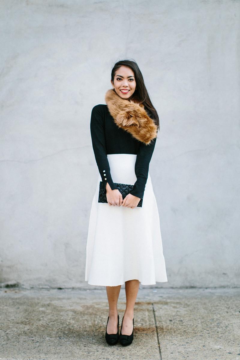1. Sweater, Zara, $30 / 2. Skirt, Zara, $70 / 3. Scarf, Joe Fresh, $20/ 4. Heels, Asos, $49(similar) / 5. Clutch, Target, $30