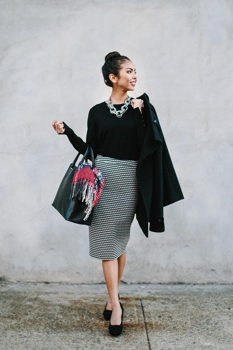 1. Sweater, Zara, $30 / 2. Skirt, Ann Taylor, $89 / 3. Heels, Asos, $49(similar) / 4. Bag, Zara, $70 / 5. Scarf, Oasis, $35/ 6. Coat, LE3NO, $69(similar) / 7. Necklace, Bling Jewelry, $60