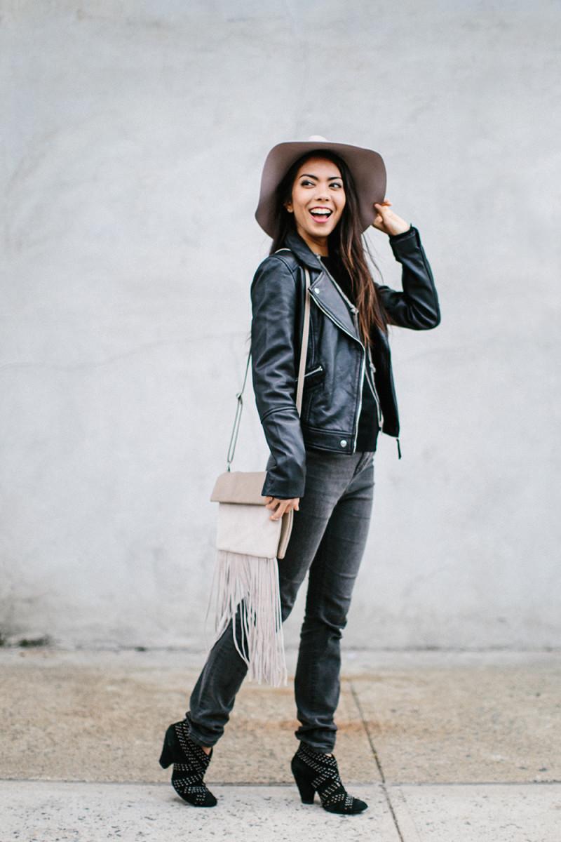 1. Sweater, Zara, $30/ 2. Leather Jacket, Zara, $189/ 3. Jeans, Topshop, $80 (similar) / 4.Bag, Oasis, $45/ 5. Hat, Topshop, $48/ 6. Shoes, Nordstrom, $65(similar)