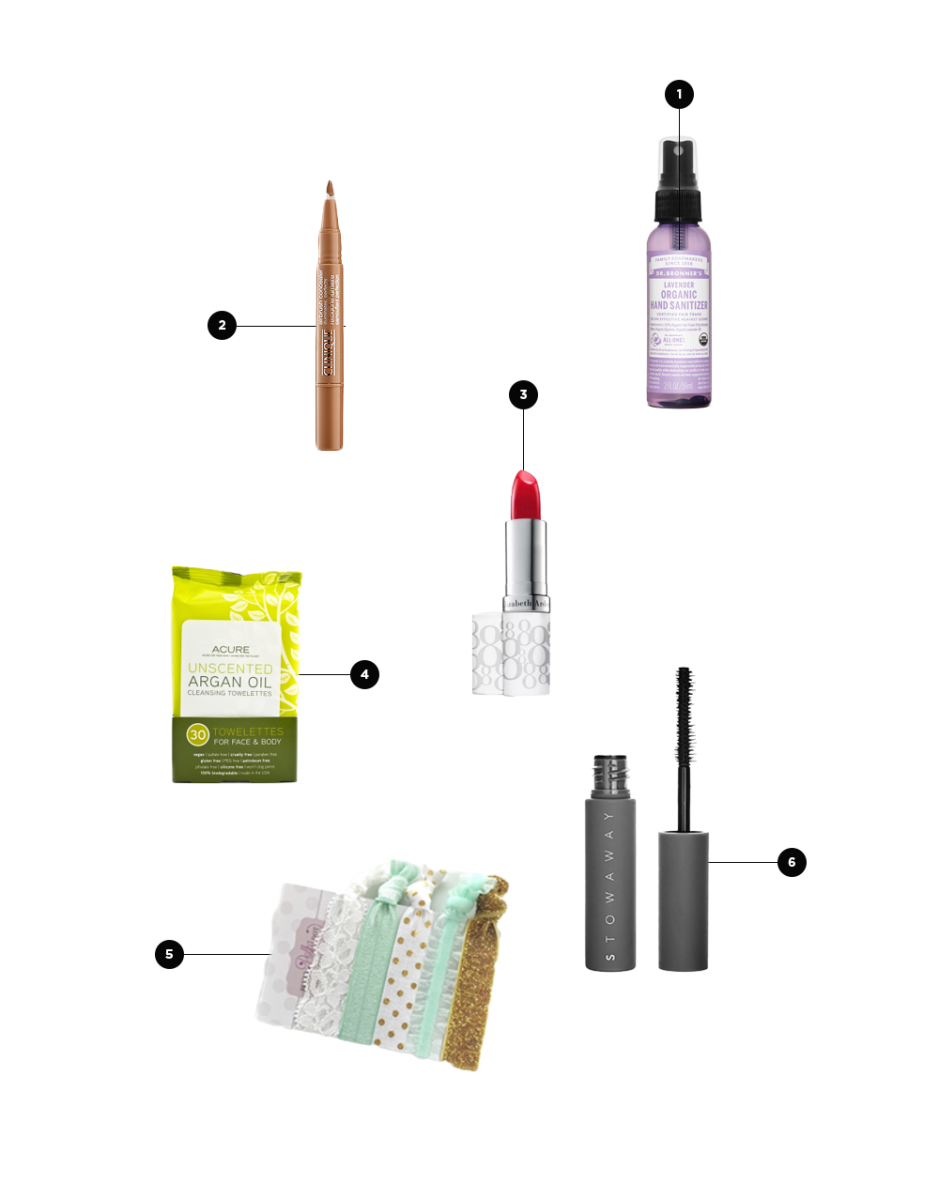 1. Hand Sanitizer, $4 / 2. Concealer, $26 / 3. Lip Tint, $21 / 4. Towelettes, $9 / 5. Stretchy Hair Ties, $5 / 6. Mini Mascara, $12
