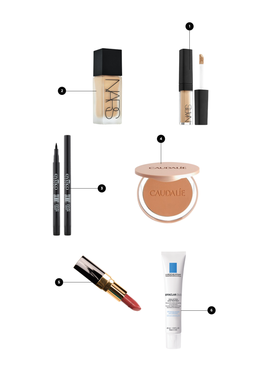 1. Concealer, $16 / 2. Foundation, $59 / 3. Liquid Liner, $18 / 4. Bronzer, $34 / 5. Natural Lip Color, $34 / 6. Effaclar Duo, $37