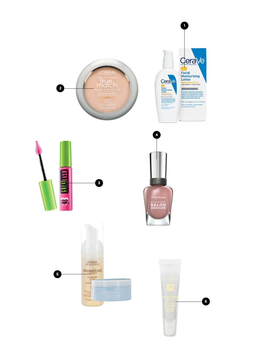 1. Travel-Size Moisturizer, $27 / 2. Compact, $9 / 3. Mascara, $4 / 4. Nail Polish, $9 / 5. Travel-Size Styling Foam, $19 and Texturizing Creme, $25 / 6. Lip Gloss, $18