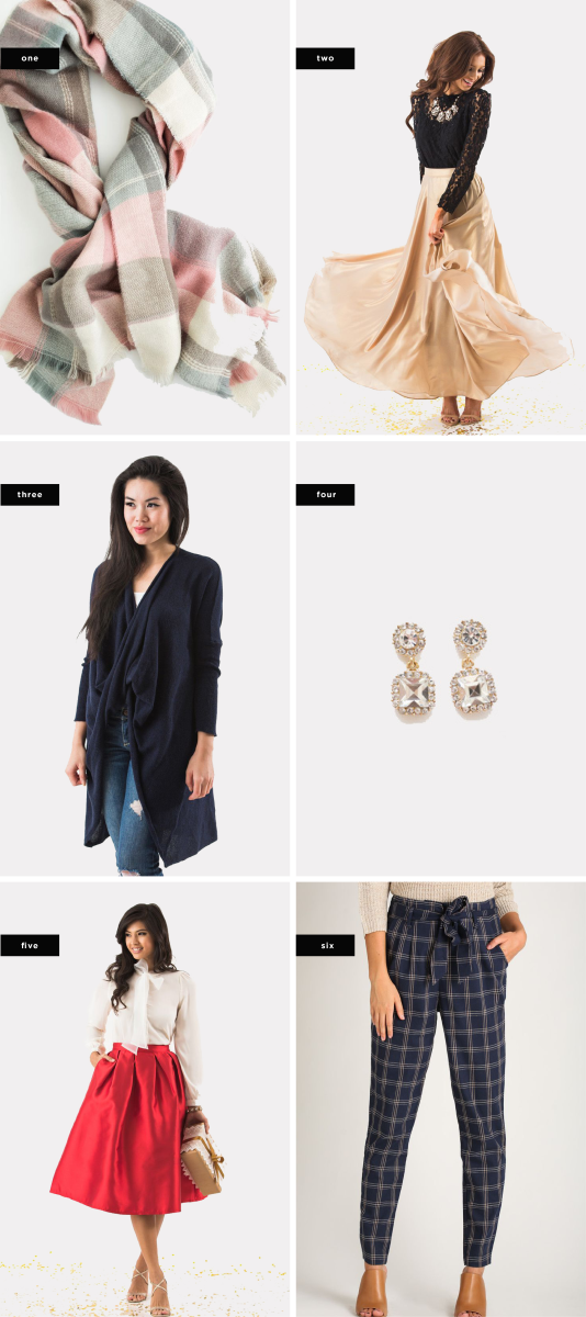 (Sale prices vary upon final purchase): 1. Sophie Pastel Blanket Scarf, $20 (similar) / 2. Amelia Gold Shimmer Maxi Skirt, $75 / 3. Reagan Navy Surplice Long Sleeve Sweater, $55 / 4. Kendra Dangle Crystal Earrings, $21 / 5. Lucille Red Shiny Full Midi Skirt, $69 / 6. Ivette Navy and Taupe Plaid Pants, $20