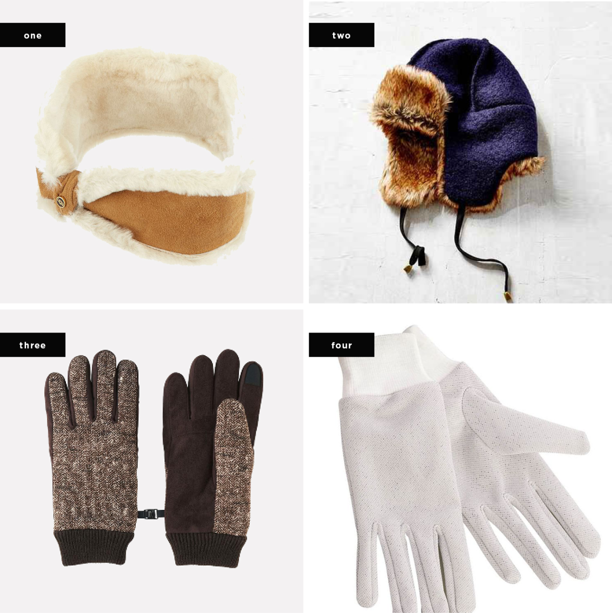 1. UGG, $95 / 2. Urban Outfitters, $44 / 3. Uniqlo, $10 (similar) / 4. Carol Wright Gifts, $4