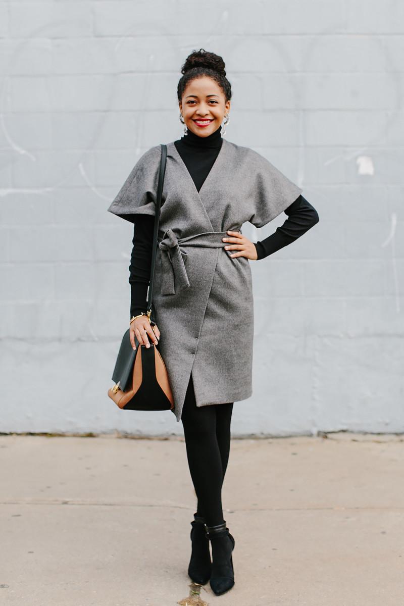 1. Dress, Oasis, $115 / 2. Turtleneck, Oasis, $65 / 3. Bag, Express, $35/ 4.Tights, Target, $10 / 5. Heels, Go Jane, $21