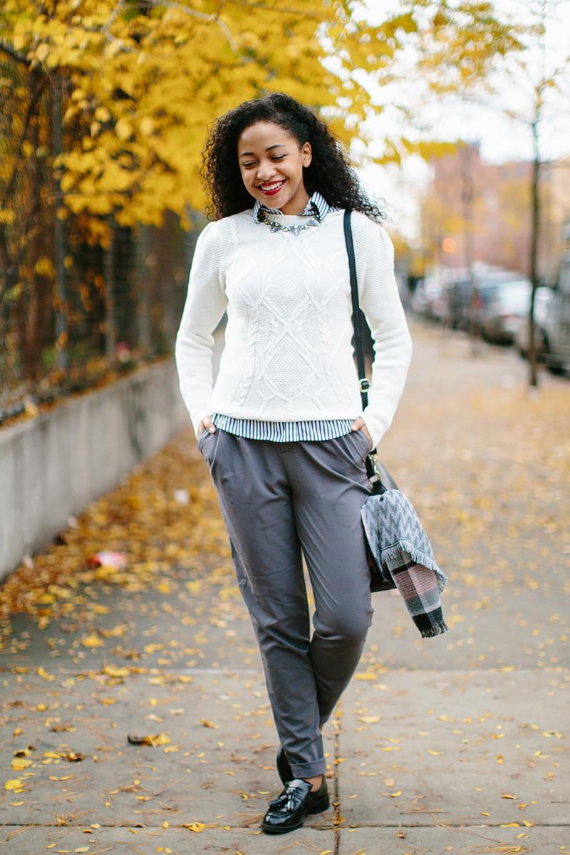 1. Sweater, Oasis, $63 / 2. Button-Up, J.Crew, $40 (similar) / 3. Pants, model's own, (similar)