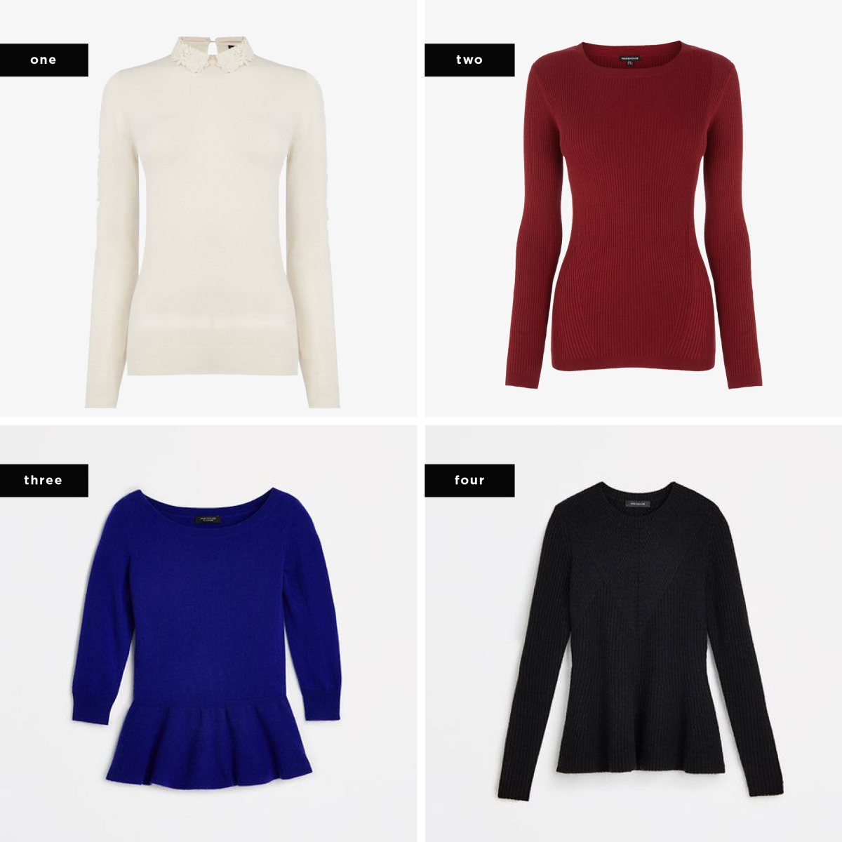 1. Warehouse, $71 / 2. Warehouse, $45 / 3. Ann Taylor, $198 / 4. Ann Taylor, $98