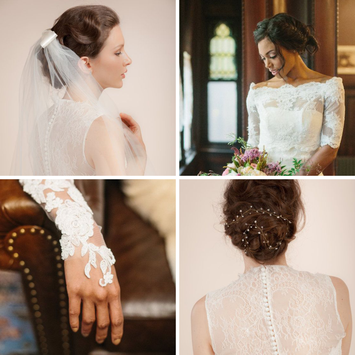 1. Bow Veil, $149+ / 2. Bridal Cover, $330 / 3. Lace Bridal Gloves, $129 / 4. Hair Vine, $169