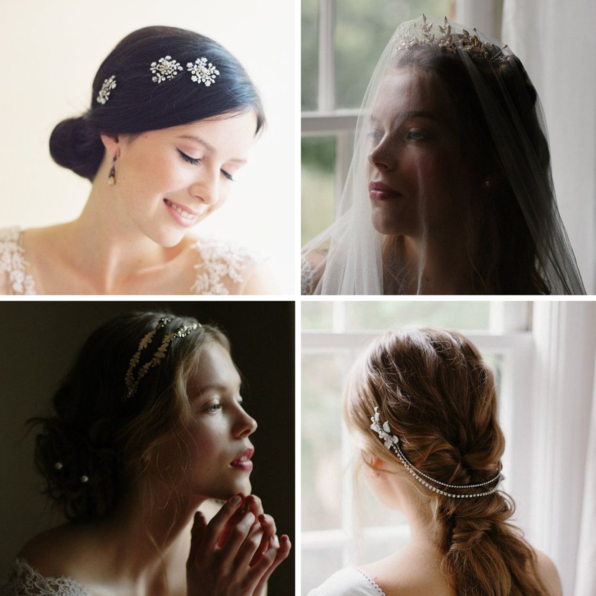 1. Rhinestone Bobby Pins, $195 / 2. Crown, $345 / 3. Grecian Headband, $225 / 4. Chain Headpiece, $255
