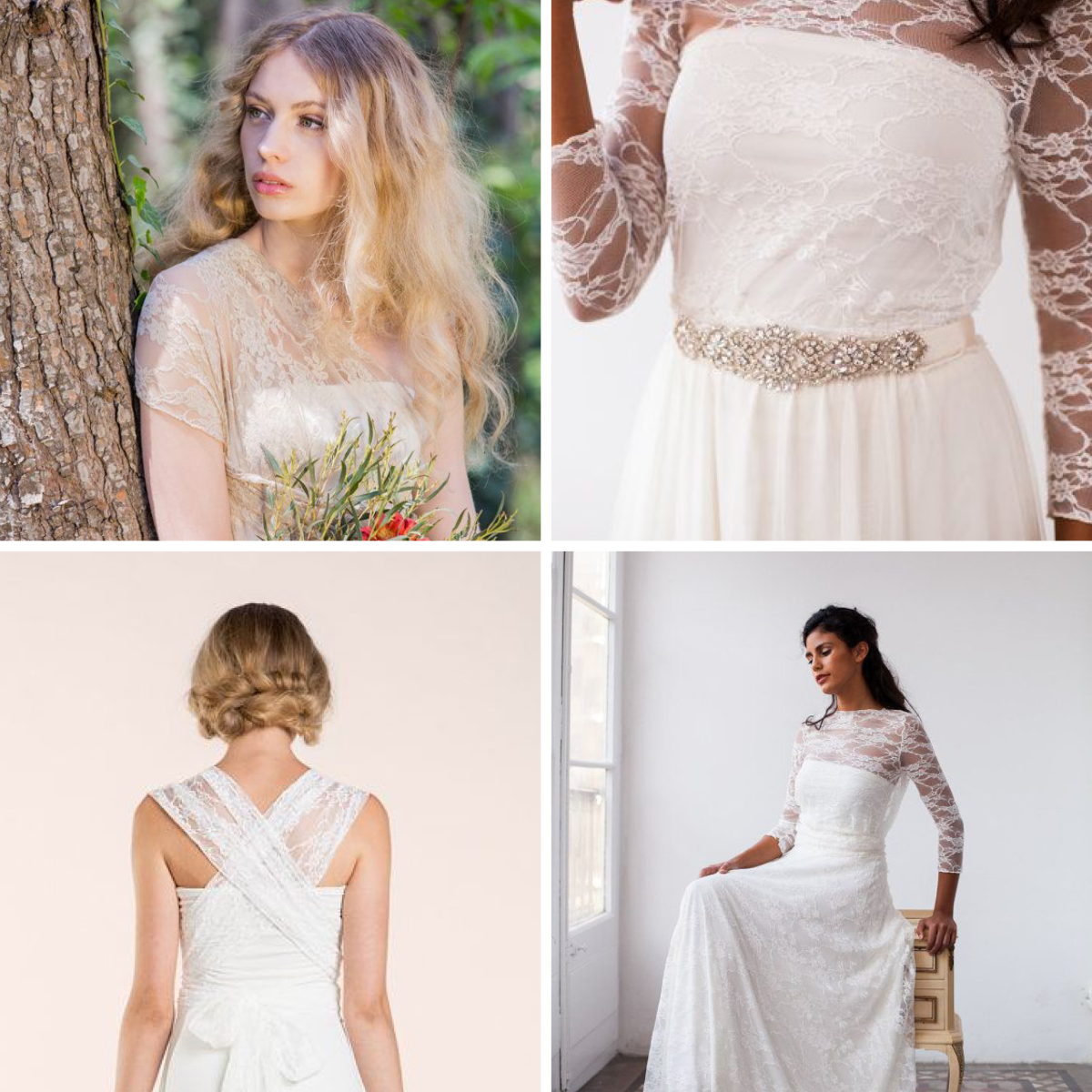 1. Gown, $266 / 2. Sash, $59 / 3. Short Dress, $266 / 4. Lace Gown, $480