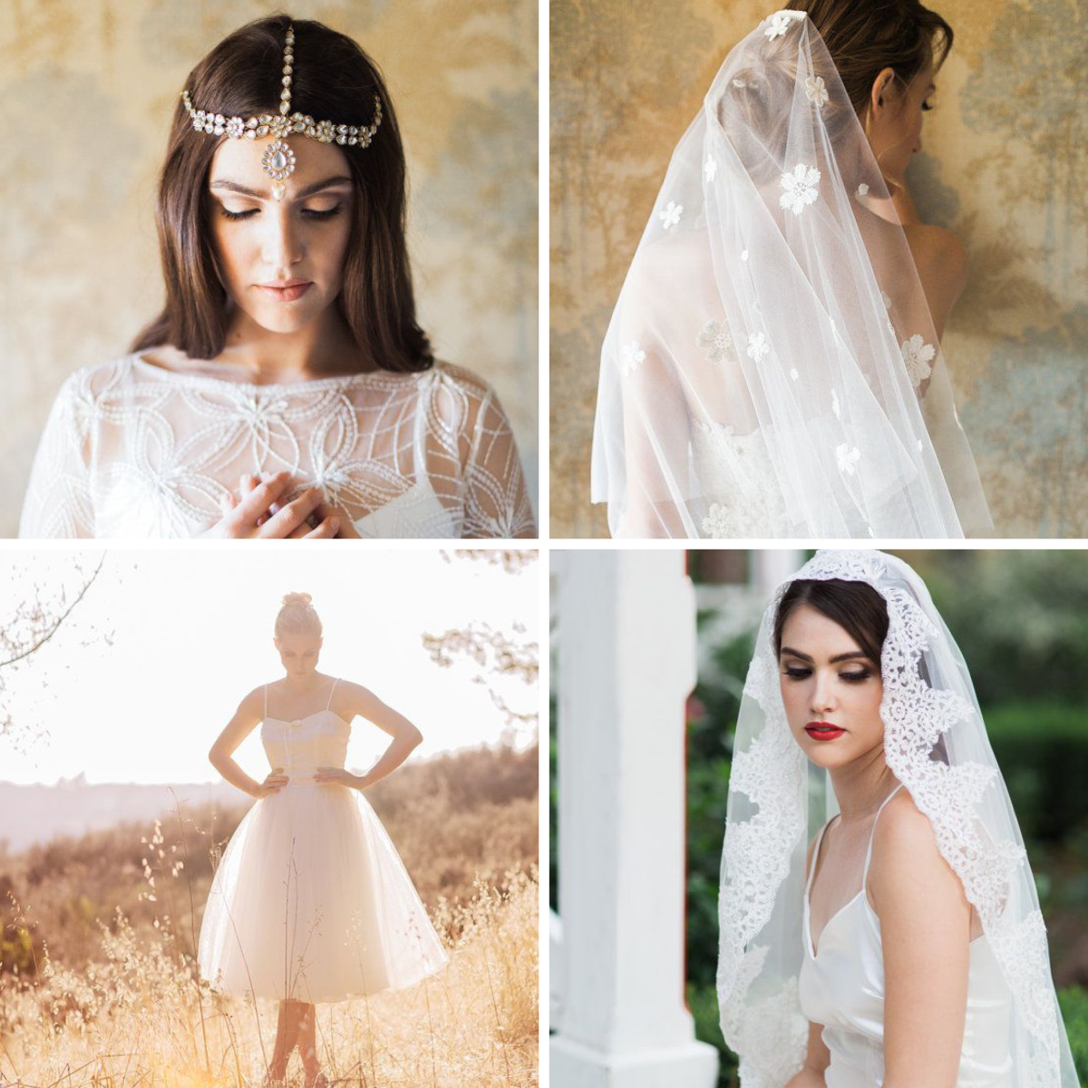 1. Gown, $600 / 2. Daisy Veil, $95 / 3. Tulle Skirt, $85 / 4. Veil, $105+