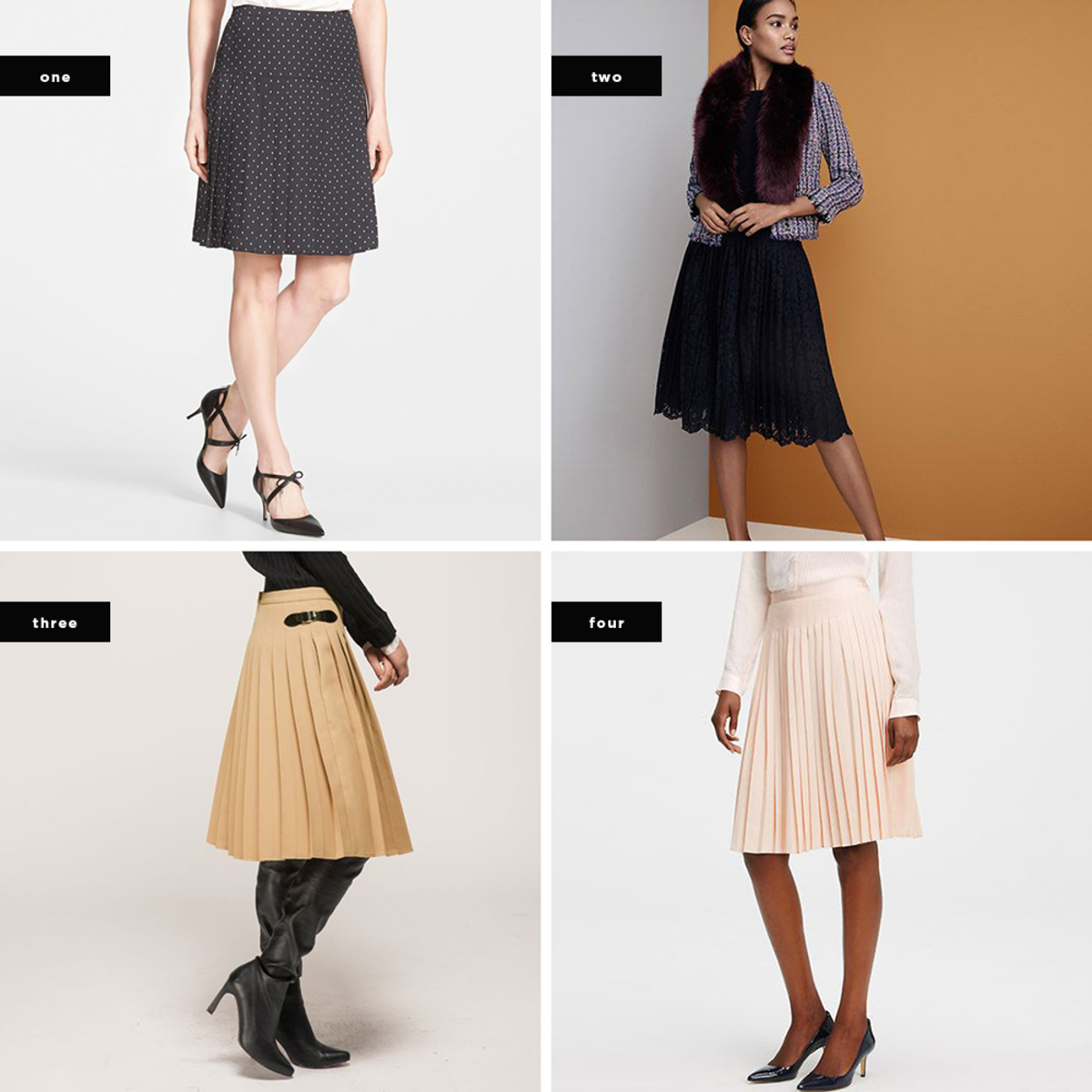 1. Nordstrom, $20 / 2. Ann Taylor, $188 / 3. Front Row Shop, $54 / 4. Ann Taylor, $188