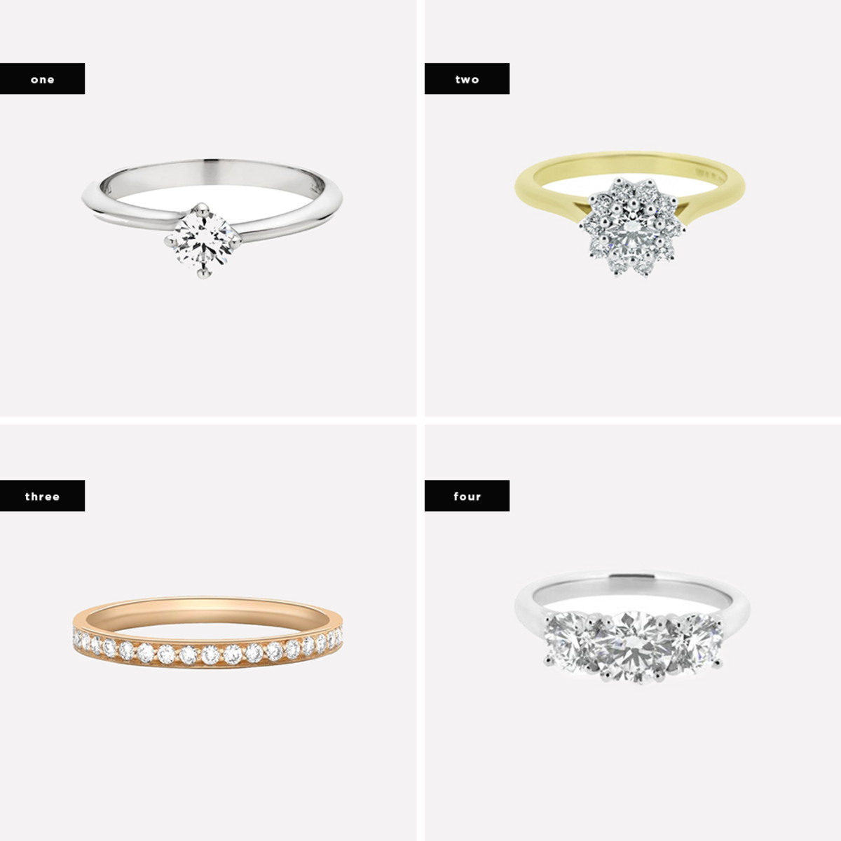 1. Arabesque / 2. Diamond Cluster Ring in Fairtrade Yellow Gold / 3. Grain Set Half Eternity Ring / 4. Platinum Diamond Trilogy Ring