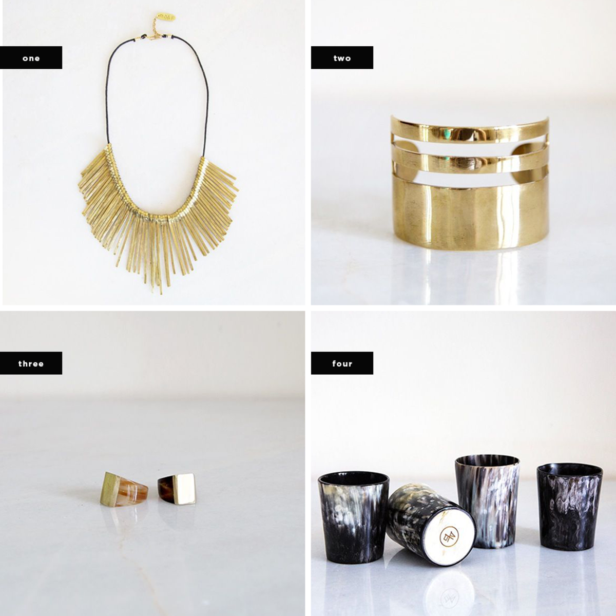 1. Gold Spikes Necklace, $115 / 2. Triple Band Brass Cuff, $150 / 3. Cow Horn and Brass Statement Ring, $75 / 4. Cow Horn Whisky Tumbler Set, $75